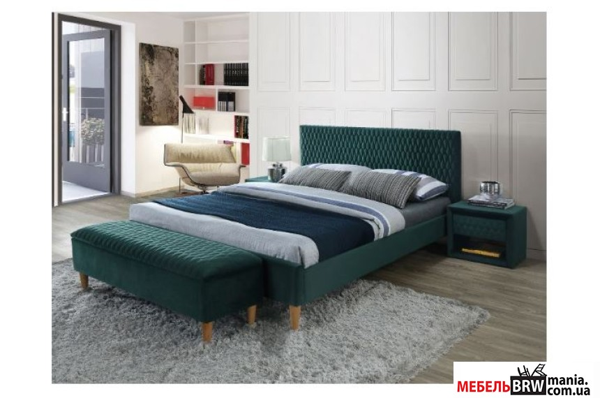 Ліжко двоспальне Signal Azurro Velvet 160х200