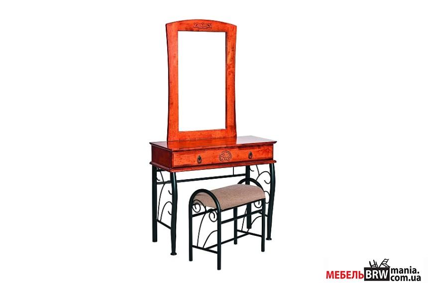 Туалетний стіл з дзеркалом і пуфом Signal 1102 черешня антична